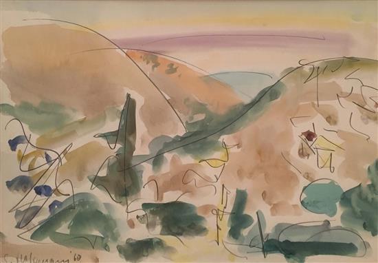 Shimshon Holzman 1907-1986 (Israeli) Landscape, 1968 watercolor on paper
