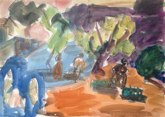 Shimshon Holzman 1907-1986 (Israeli) Figures in a landscape watercolor on paper