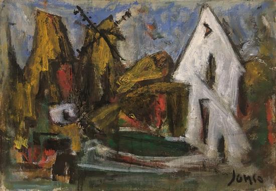 Marcel Janco 1895-1984 (Israeli) Windmill oil on canvasboard