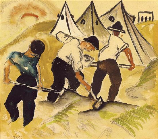 **Israel Paldi 1892-1979 (Israeli) Pioneers and tents, 1920's watercolor on paper