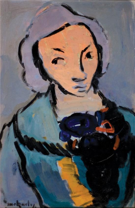 Moshe Mokady 1902-1975 (Israeli) Girl with teddy bear oil on paper mounted on board