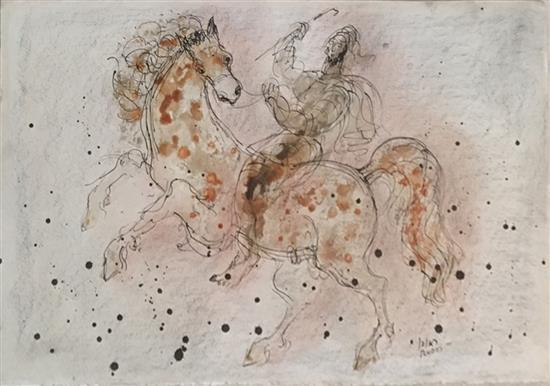 Reuven Rubin 1893-1974 (Israeli) Horses india ink and watercolor on cardboard