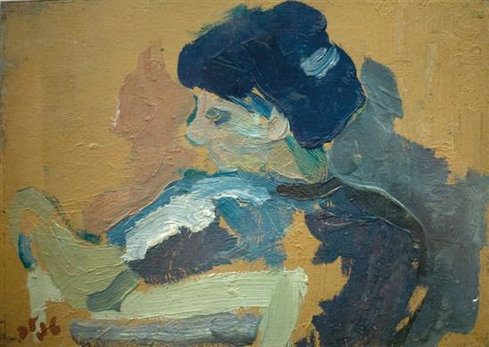 Shmuel Tepler 1918-1998 (Israeli) Woman oil on cardboard