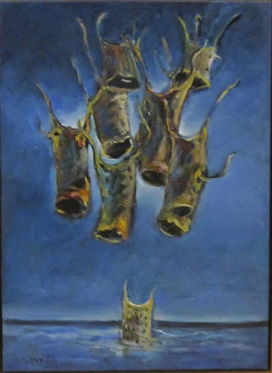 Yosl Bergner b.1920 (Israeli) Rescue team oil on canvas
