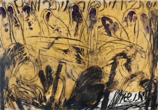 Moshe Gershuni b. 1936 (Israeli) Kadish, 1983 glass paint, oil and pencil on paper