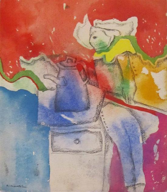 Richard Bilan b. 1946 (French, Israeli) Songs for Eva watercolor on paper
