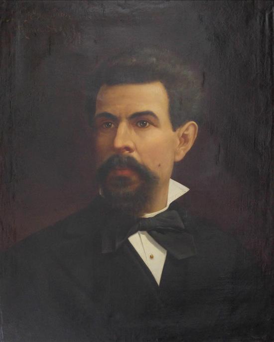 Achille De Domenicis 1851-1917 (Italian) Portrait of a man, 1874 oil on canvas