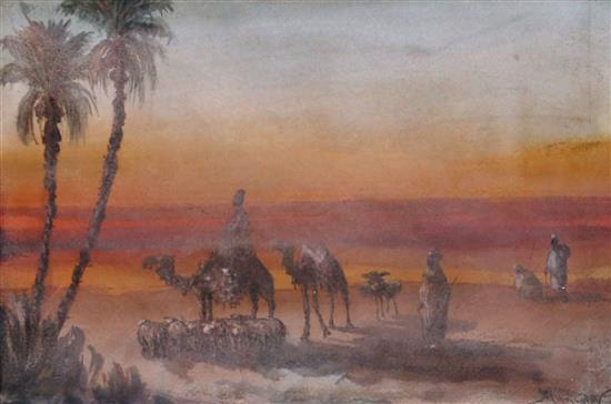 Vincent Manago 1880-1936 (French) In the desert watercolor on paper