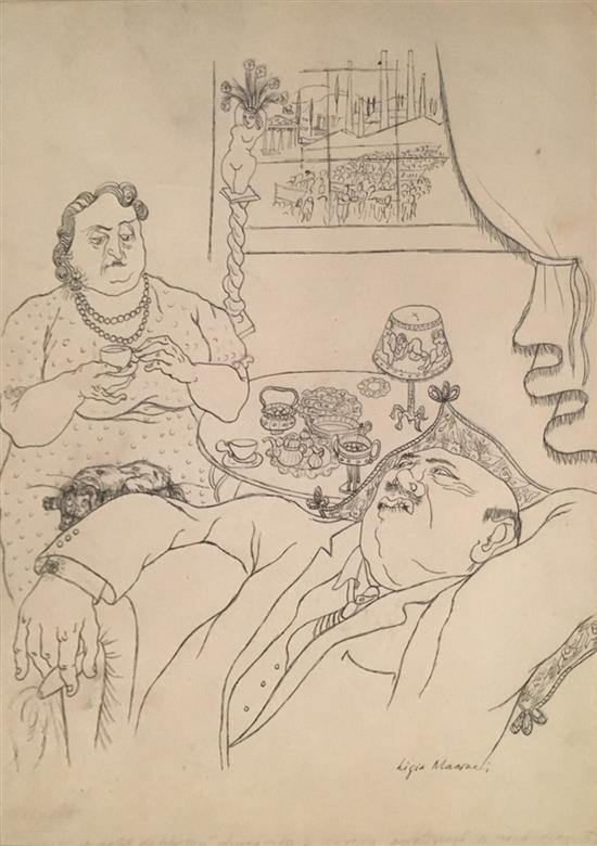 Ligia Macovei 1916-1948 (Rumanian) Tea time in Paris ink on paper