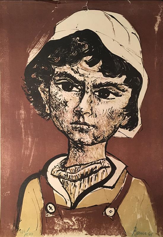Delesio Antonio Berni 1905-1981 (Argentine) Boy, 1961 lithograph, fair condition