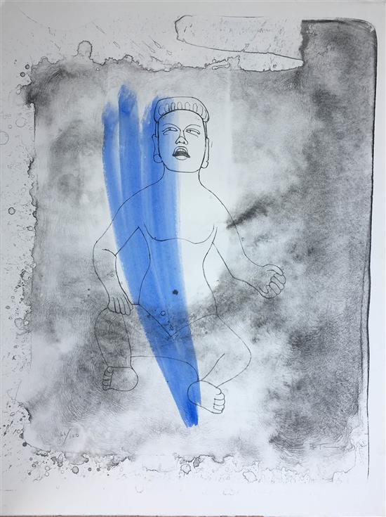 Rufino Tamayo 1899-1991 (Mexican) Olmec idol hand colored lithograph