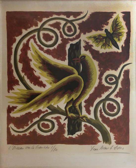 Jean Picart Le Doux 1902-1982 (French) L'oiseau sur la branche color lithograph