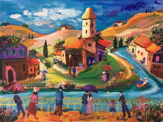 Shlomo Alter b.1936 (Israeli) Village landscape oil on canvas