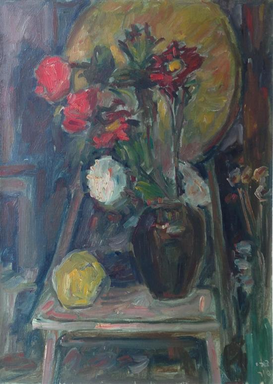 Zvi Shor 1898-1979 (Israeli) Flower bouquet oil on canvas
