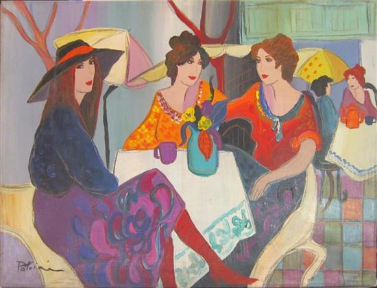 Patricia Govezensky b. 1961 (Israeli) Ladies in a coffee shop oil on canvas