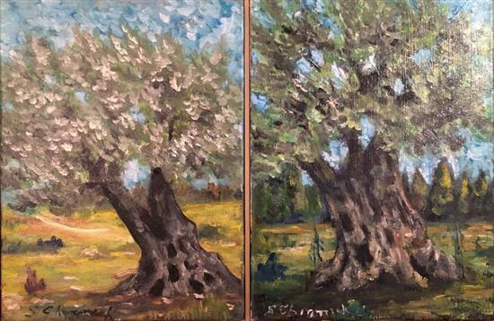 Sergio Cherniak b.1951 (Israeli) Trees, diptych oil on canvas