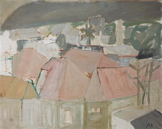 Eliyahu Gat 1919-1987 (Israeli) Houses in Jaffa oil on canvas