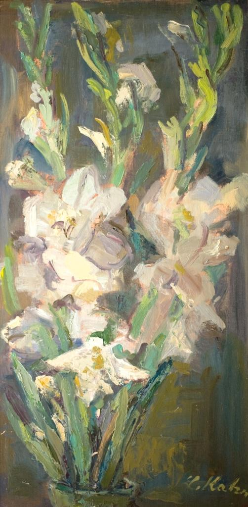 Leo Kahn 1894-1983 (Israeli) Gladiolus oil on canvasboard