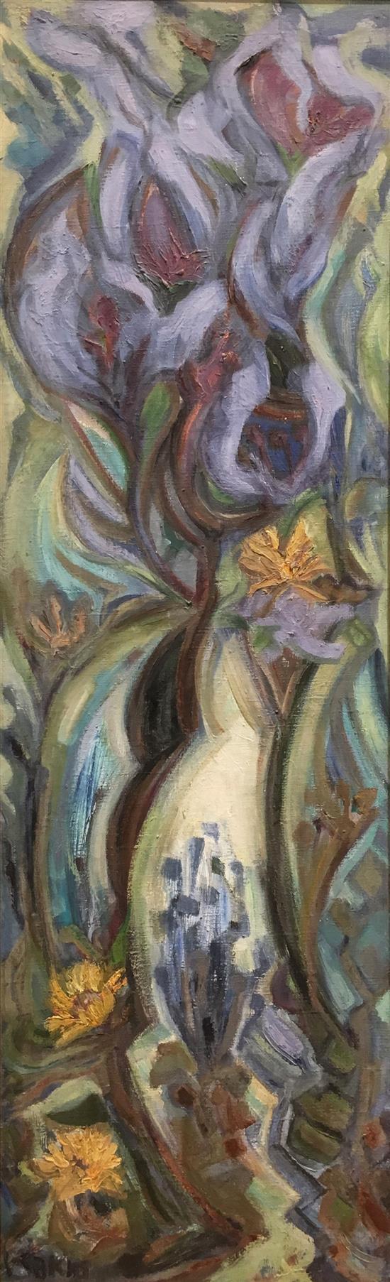 David Rakia b.1928 (Israeli) Flowers oil on canvas
