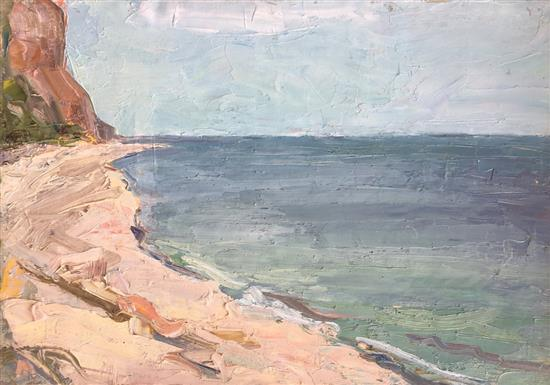 Shlomo Van Den Berg 1920-1982 (Israeli) Seascape oil on canvasboard