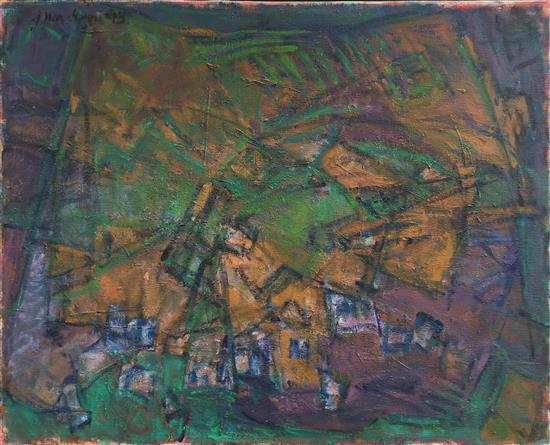 Judith Har-Even b.1926 (Israeli) Haifa landscape, 1995 oil on canvas