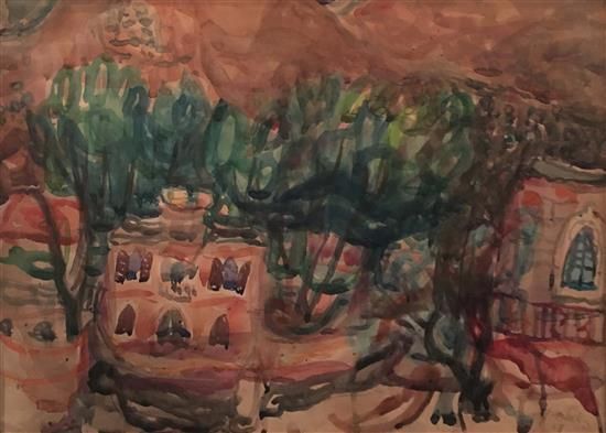 Elhanan Halpern 1914-1995 (Israeli) Safed, 1948 watercolor on paper