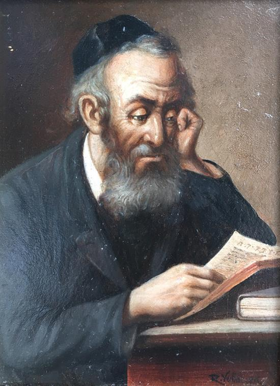 Raimond Volanek 1857-1927 (Austrian) Rabbi reading oil on board
