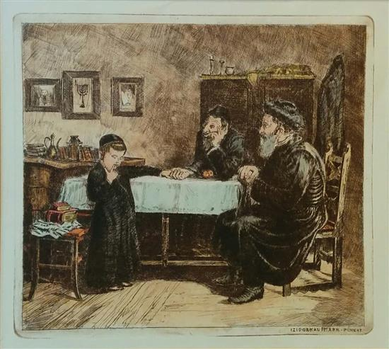 Isidor Kaufmann 1853-1921 (Austrian, Hungarian) Two scholars with young student etching