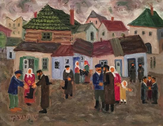 Shmuel Wodnicki 1895- 1980 (Israeli) Street scene oil on masonite