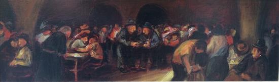 Zvi Malnovitzer b.1945 (Israeli) Cafe scene oil on panel