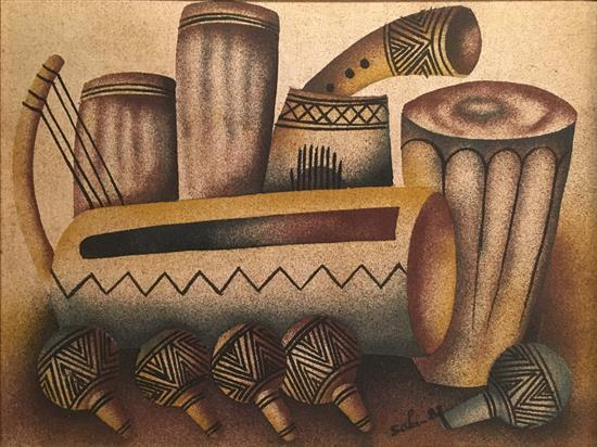 Unidentified Artist late 20th century Mexican tools mixed media on canvas