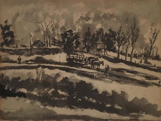 Avraham Goldberg 1906-1980 (Israeli) Village landscape, c.1950's ink and watercolor on paper