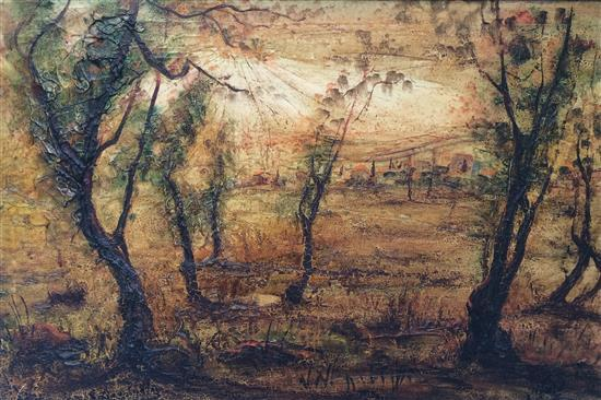 **Zvi Raphaeli 1924-2005 (Israeli) Landscape oil on canvas