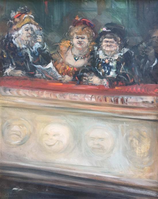 Moshe Chauski b.1935 (Israeli) Opera characters oil on board