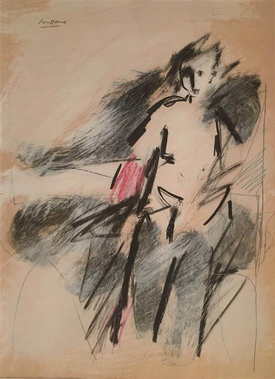 David Soussana b.1944 (Israeli) Figure mixed media on paper