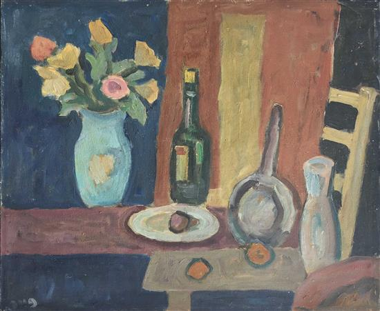 Yitzhak Peer 1908-1983 (Israeli) Still life with flower bouquet oil on canvas