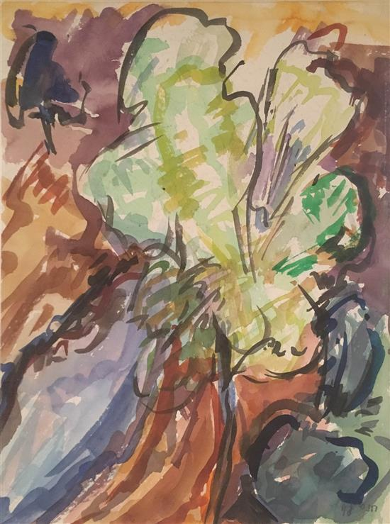 Hana Levi b.1950 (Israeli) Tree watercolor on paper