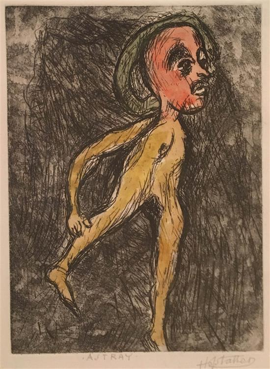 Osias Hofstatter 1905-1994 (Israeli) Astray hand colored etching