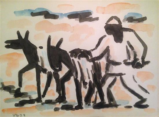 David Hendler 1904-1984 (Israeli) Man leading two donkeys watercolor on paper