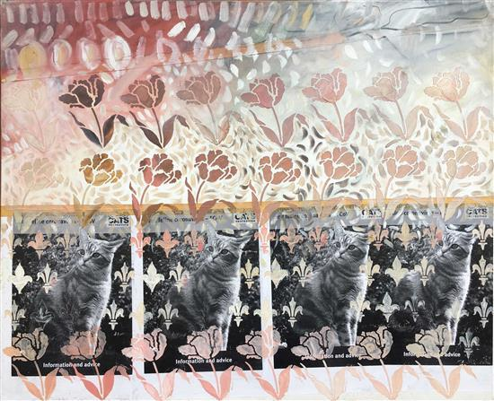 Dalia Burstein Steinberg Flowers and cats, 2003 mixed media on canvas