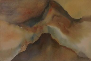 Yoram Raanan b. 1953 (Israeli) Fantastic landscape watercolor on paper