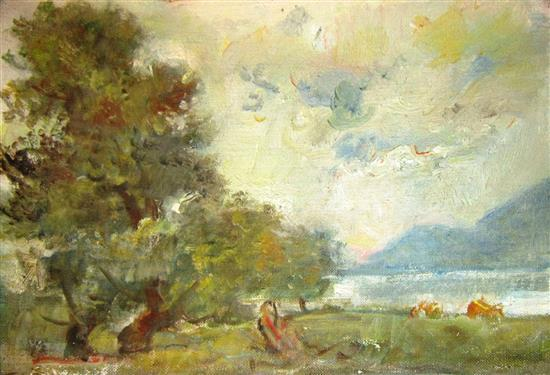 Attributed to Lipot (Leopold) Herman 1884-1972 (Hungarian) Lake side landscape oil on canvas
