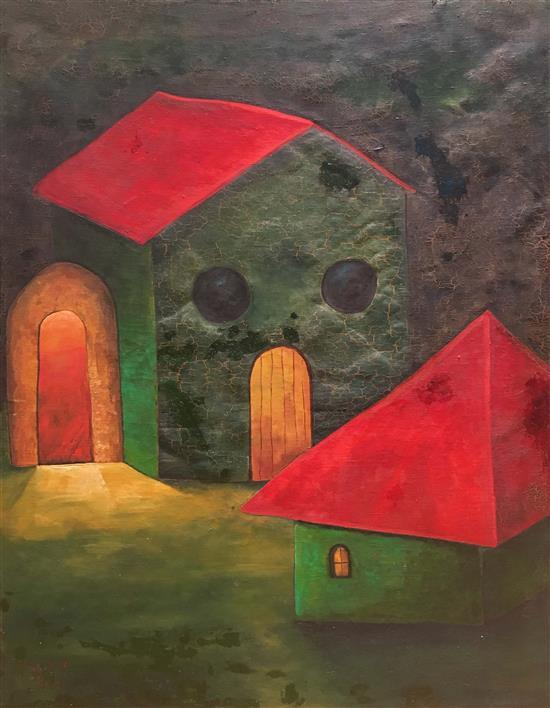 A. Rubin Houses with red roofs, 1976 oil on canvas