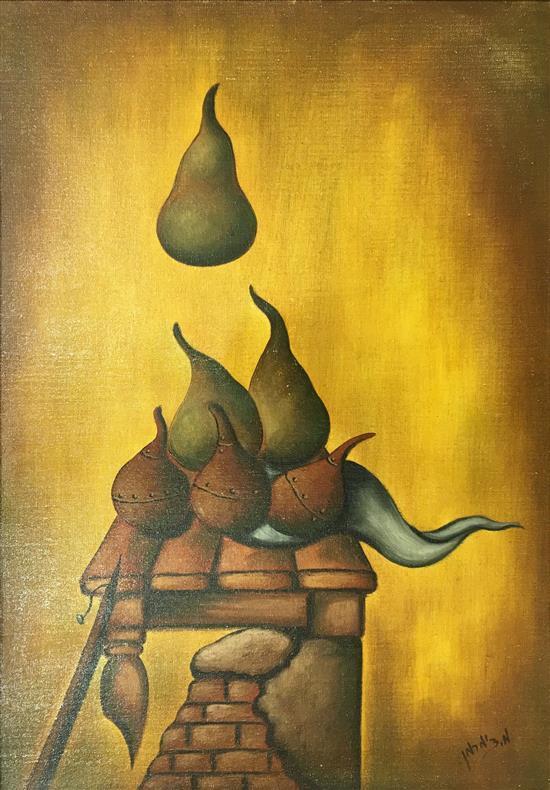 M. Zimmerman Pears oil on canvasboard
