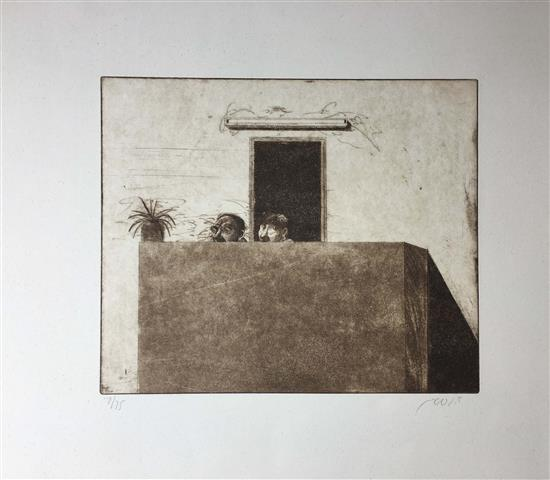 David Gerstein b.1944 (Israeli) Couple on the porch etching