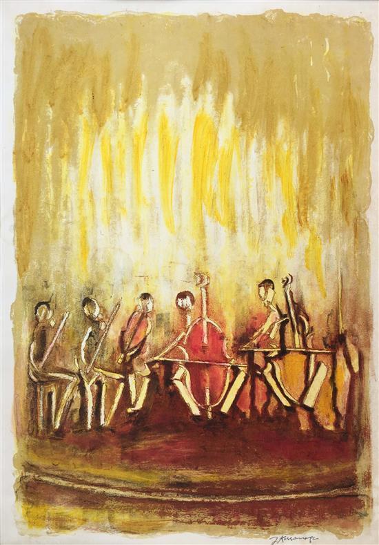 Joseph Kossonogi 1908-1981 (Israeli) Orchestra hand painted lithograph