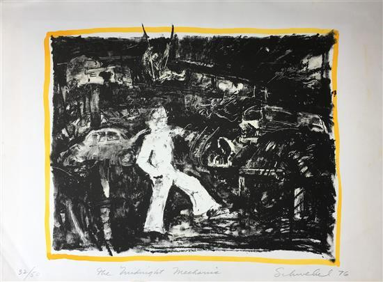 Ivan Schwebel 1932-2011 (Israeli) The midnight mechanic, 1976 lithograph