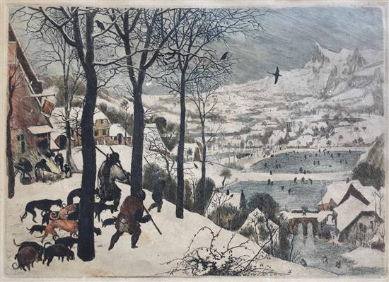 After Pieter Bruegel the Elder 1525-1569 (Dutch) The Hunters in the Snow, 1565 etching hand colored
