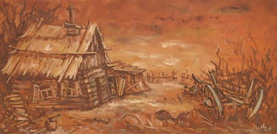 Shemuel Goldstein 1921-2006 (Israeli) Barn oil on masonite