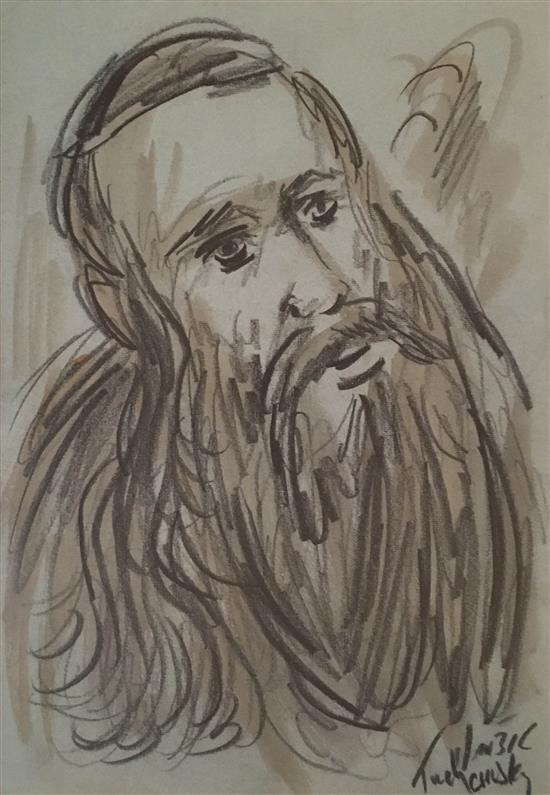 Tuchmsky Observant Jew charcoal and wash on paper